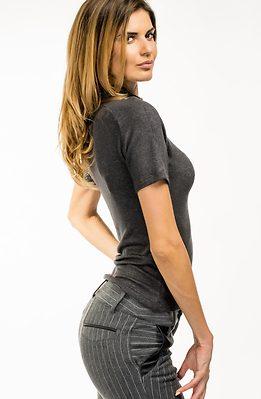 Блуза с поло яка и 3/4 ръкави