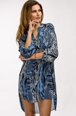 Риза-туника в син десен