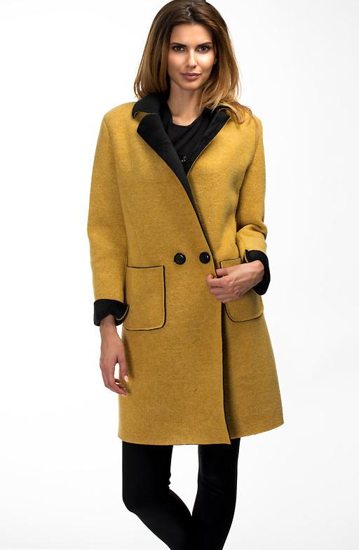 Дамско палто в цвят горчица