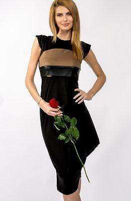 Асиметрична двуцветна рокля