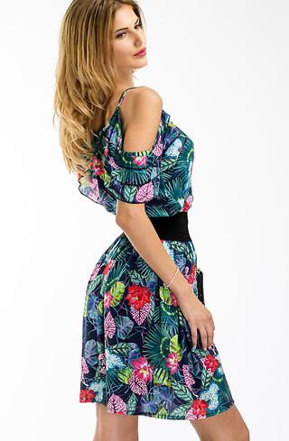 Къса рокля с паднали рамене