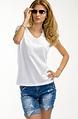 Бяла памучна блуза с дантела