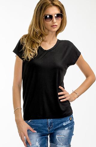 Черна памучна блуза с дантела