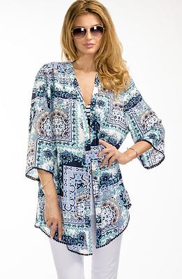 Кимоно в син флорален десен