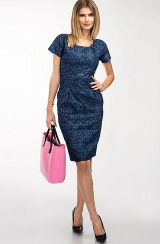 Стилна рокля от дънков жакард