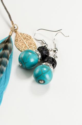 Обеци Turquoise and lava
