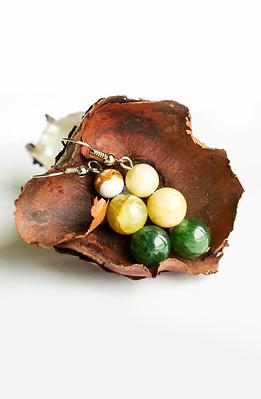 Обеци от зелен ахат и жадеит
