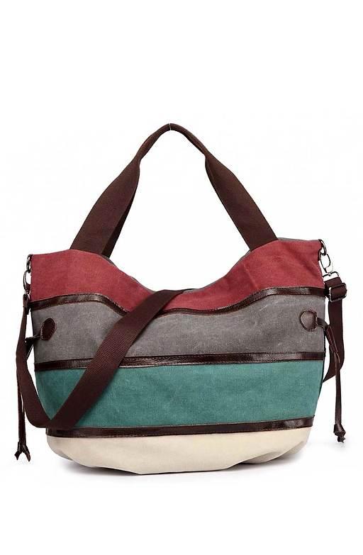 Дамска цветна чанта от текстил и кожа