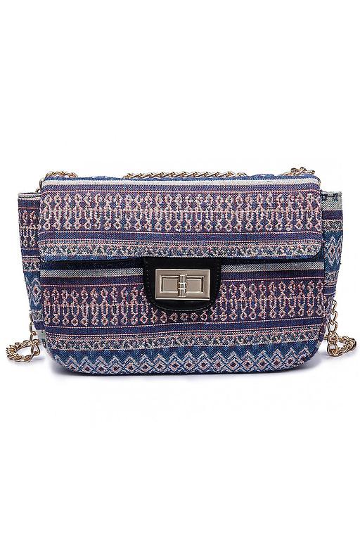 Мини чанта в етно мотиви от текстил