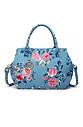 Дамска чанта в синьо с десен на цветя