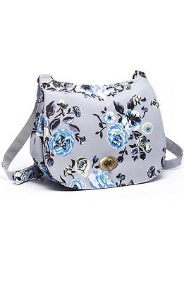 Дамска чанта в сив десен на цветя