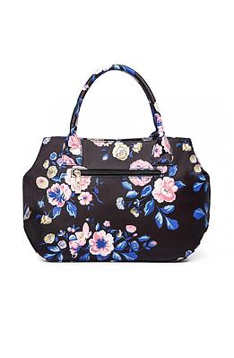 Дамска чанта в черно с десен на цветя