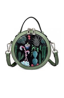 Мини дамска чанта с принт в зелено