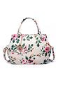Дамска чанта в бежево с десен на цветя