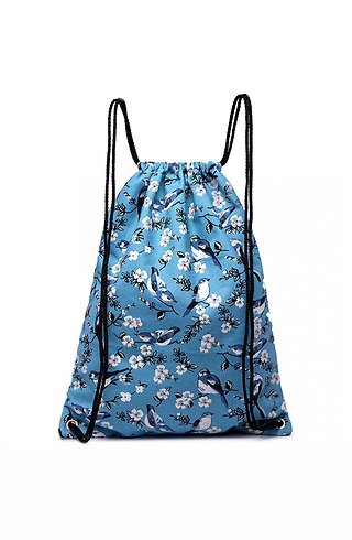 Раница тип торба с принт в светло син десен