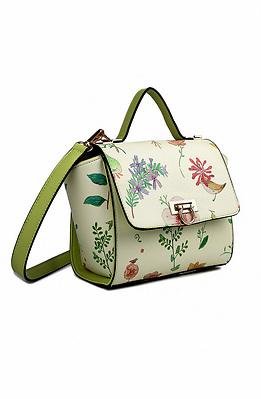 Мини чанта тип куфарче с цветен принт