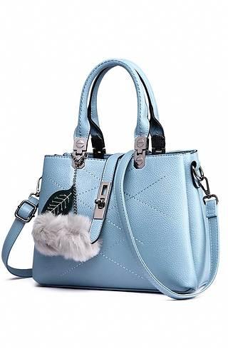 Дамска чанта с аксесоар в светло синьо