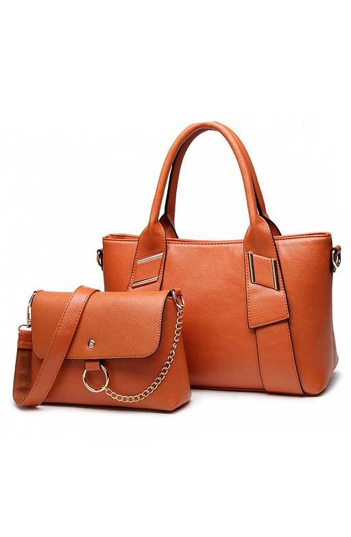 Голяма и малка чанта в кафяво