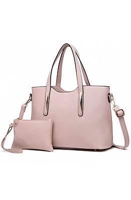 Дамска чанта с несесер в бежево
