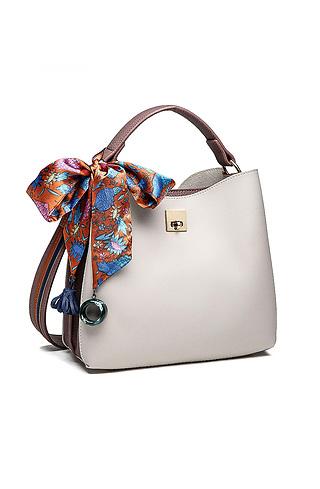 Дамска чанта в сив десен с шалче