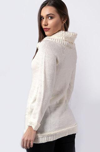 Блуза от плетиво в цвят шампанско