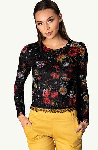 Къса флорална блузка от фино плетиво