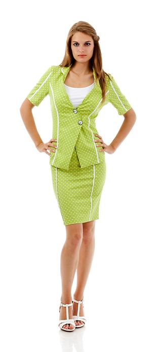 Светъл костюм от сако и права пола
